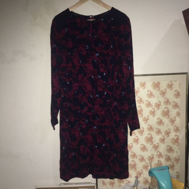 Marks And Spencer Burgundy Sleeve Dress