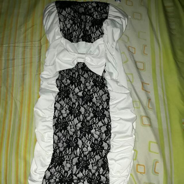 Mini Dress Putih Brukat