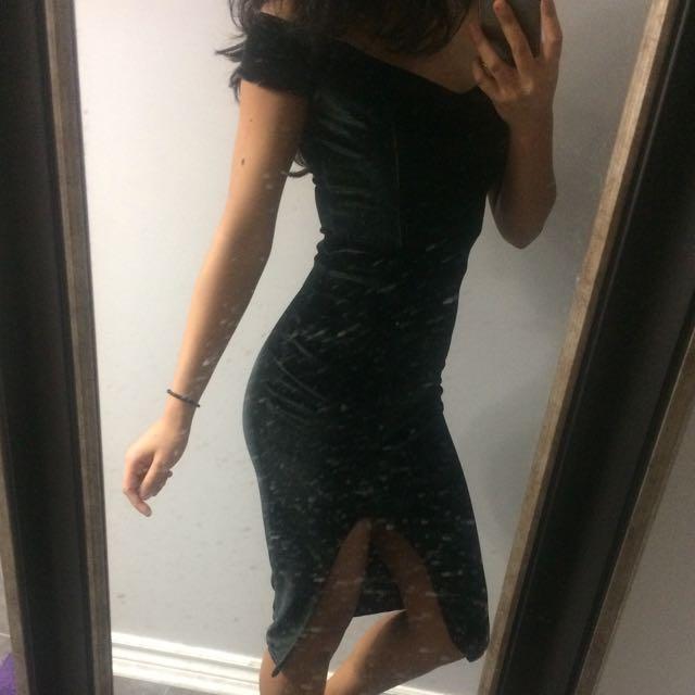*Reduced* New Velvet Off The Shoulder Midi Dress