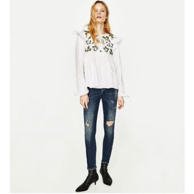 New Zara Skinny Jeans Ripped Damage