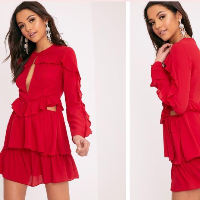 Pretty Little Thing Red Ruffle Dress Size 10