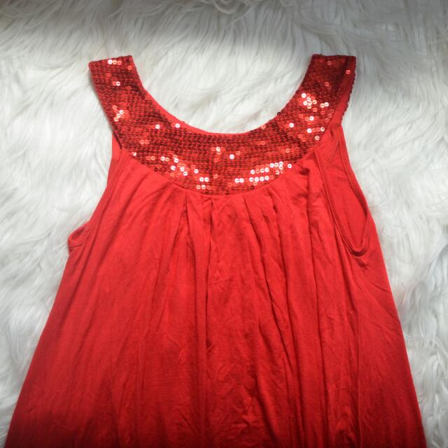 Red Flowy Dress With Sequin Detail