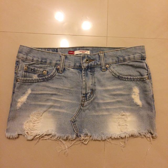 Someone jeans 古著刷破淺色牛仔短裙 vintage