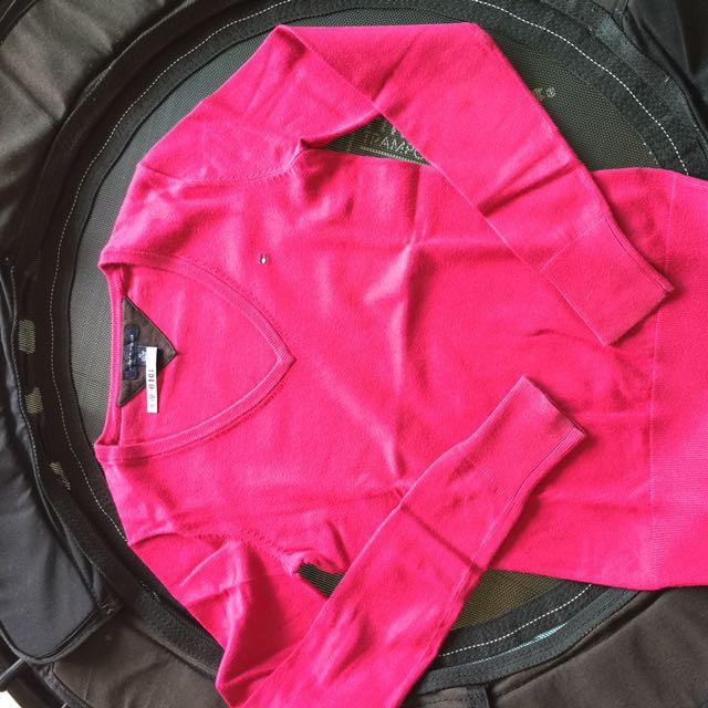 Tommy Hilfiger桃紅色v領針織衣 尺寸:xs