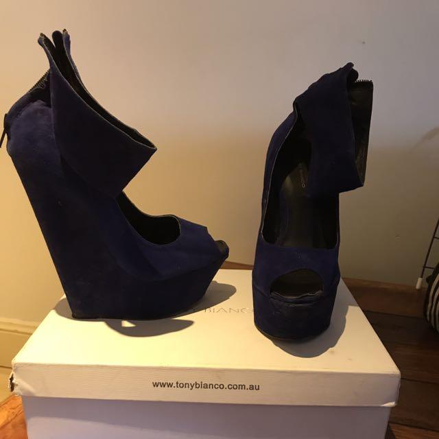 Tony Bianco Blue Wedges