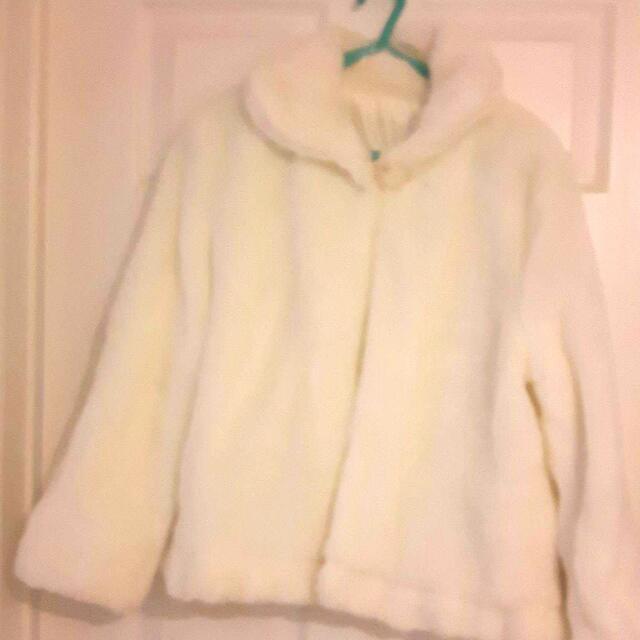 White Color plush coat