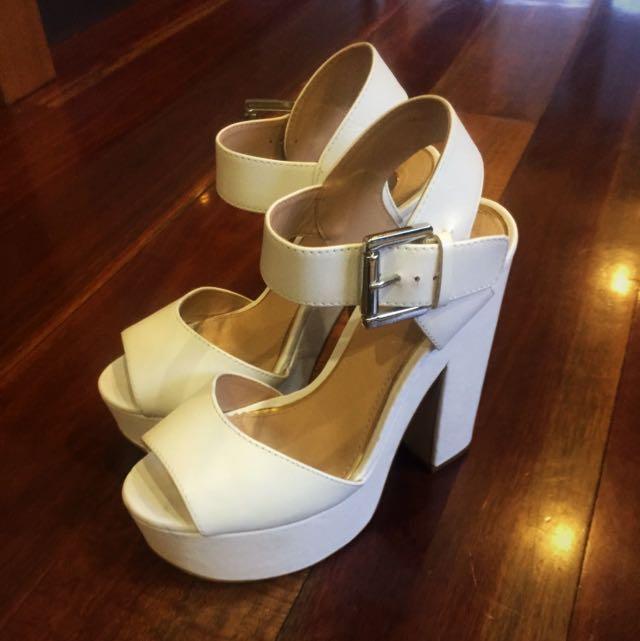 Womens Platform White Heels