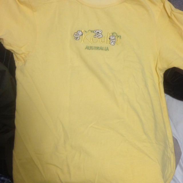 Yellow Australia Tourist Shirt With Koala Design