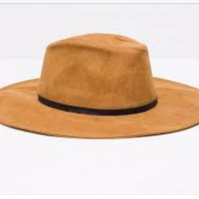 Zara Orange Wide Brim Felt Hat