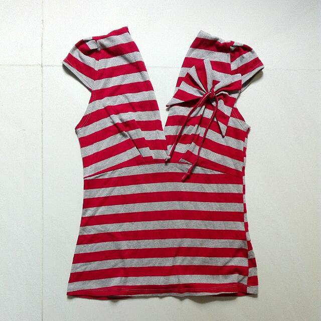 ZARA Striped Top. Size M. Color: Red/Grey. 100% Katun.