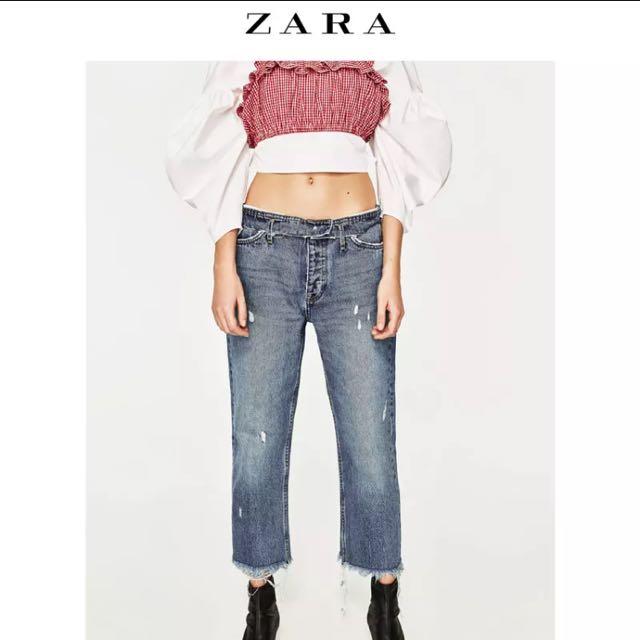 (可議)Zara Trf 中低腰直筒及踝牛仔褲