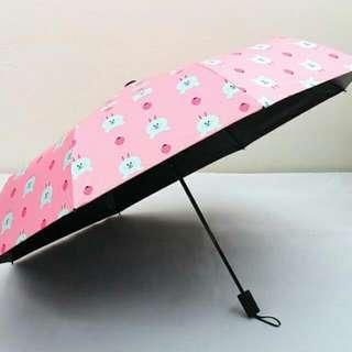 #手滑買太多全新🐰萌萌Line friends布朗熊 可妮兔 莎莉折疊雨傘