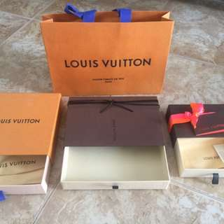 LV box and paper bags