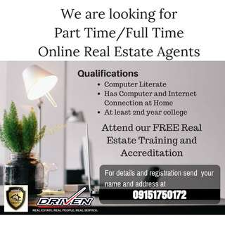 EARN EXTRA INCOME THRU REAL ESTATE SELLING! Be an accredited Real Estate Agent and work on your own time!