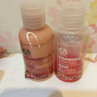 Body Shop  Body Lotion And Shower Gel Strawberry