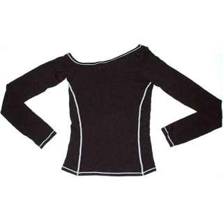 (9成新)真品正品A/X AX ARMANI EXCHANGE國標舞設計感斜肩性感超彈性長袖上衣