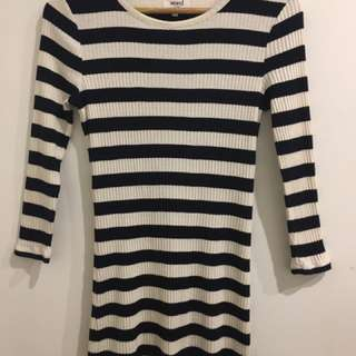 Price Drop!! Sml Navy/White Striped Ribbed Dress Seed