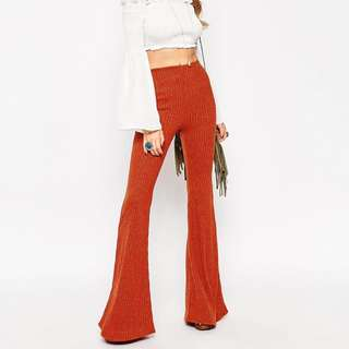 Vintage Glitter Bell Bottom Pants, Brick Orange Wool - Size 10