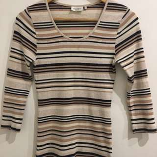 XS - Navy/Nude Striped Ribbed Top Jeanswest