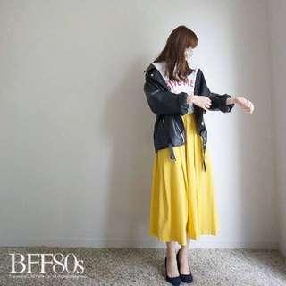 韓全新轉賣。鮮黃長圓裙