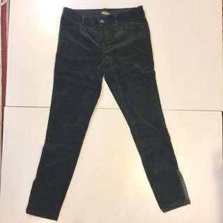 英國專櫃購入 Ralph Lauren Rugby 絨布 鉛筆褲 Skinny 古董 深綠色 合身 細身 古著 內搭