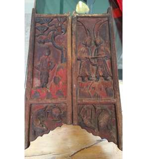 A pair of ancient wood carvings panel