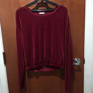 Zara Red Velvet Long Sleeved Top