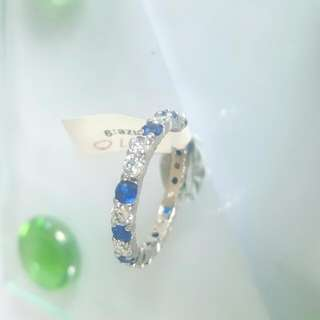 Clear And Blue Cz Ring