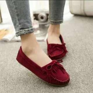 酒紅色豆豆鞋