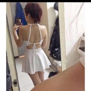 白色 削肩 露背 性感 洋裝