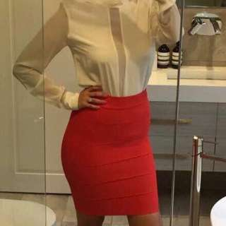 Designer BCBG MAZAZRIA red/orange bandage skirt Sz Small - RRP $220