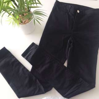 H&M Slim Fit Black Trousers Size 38