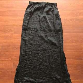 Cotton On Black Crushed Satin Maxi Skirt Size XS