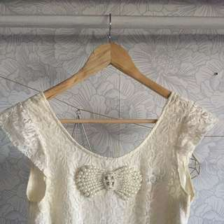 Lipsy Cream Pearl Playsuit
