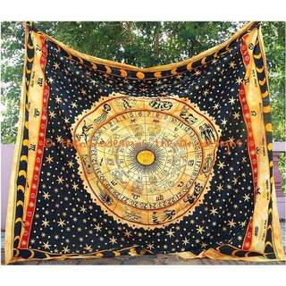 Zodiac Horoscope Astrology Tapestry Bedspread Wall Hanging Meditation Throw