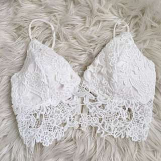 White Lace Crop Top Padded