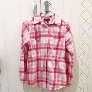 GAP 格子襯衫 粉色格紋 腰身顯瘦 美國正品 Kids XXL SM 罩衫外套 ZARA A&F AE 粉紅色