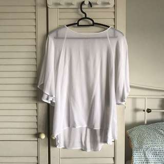 White Flowy Pull And Bear Top