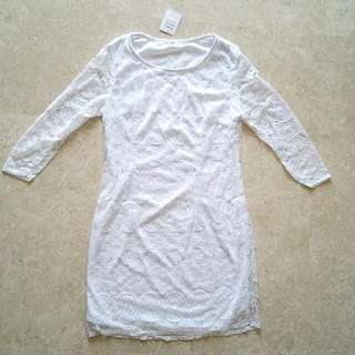 BNWT Traceyeinny 3 Quarter Sleeves Lace Dress In White