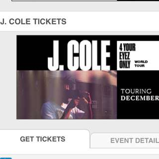 J COLE TICKET SECTION 6 X 1