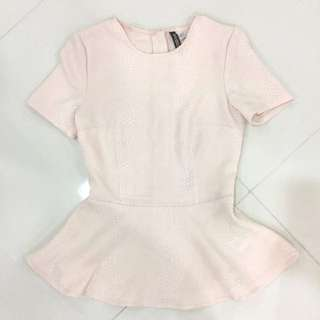 H&M Soft Pink Peplum Top