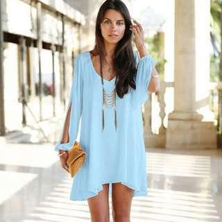 Dress Wanita Casual V-Neck Chiffon Long Sleeve