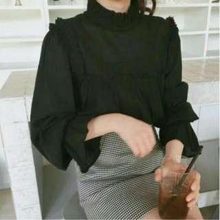 韓貨 喇叭袖雪紡襯衫