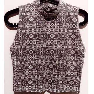 Aztec High Neck Crop Top