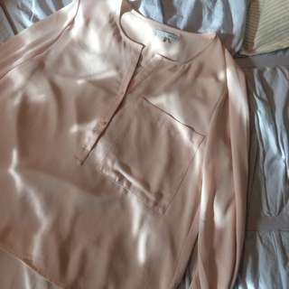 Oak And Fort Blush Pocket Blouse