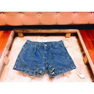 BLUPOP•JEANS(正韓)歐美靛藍深色寬鬆復古牛仔丹寧短褲