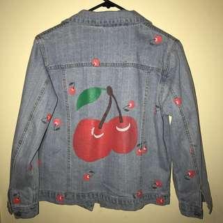 Cherry Printed Denim Jacket