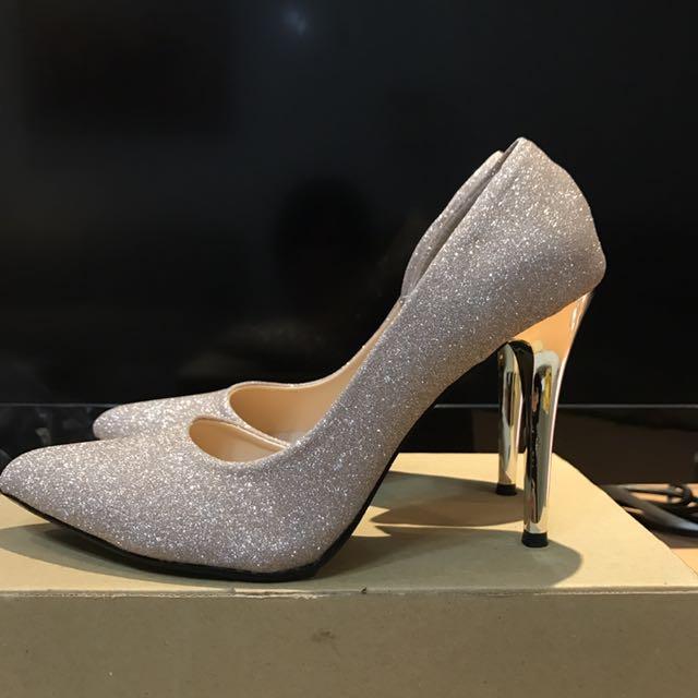 金色亮片高跟鞋婚鞋24.5號