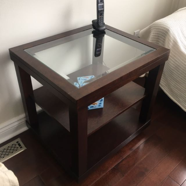 2 Brown Wooden Side Tables With Glass Top