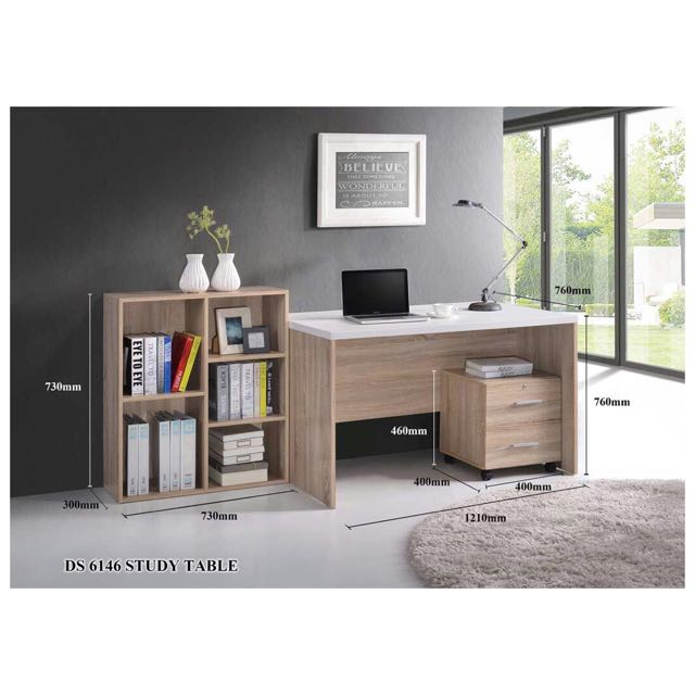 3 In 1 Study Table Office Bookshelf Drawer Home Furniture On Carousell